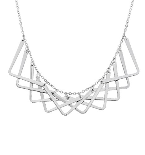 HSWE Statement Collar Necklace for Women Simple Geometric Bib Necklace for Wedding Party (Silver)