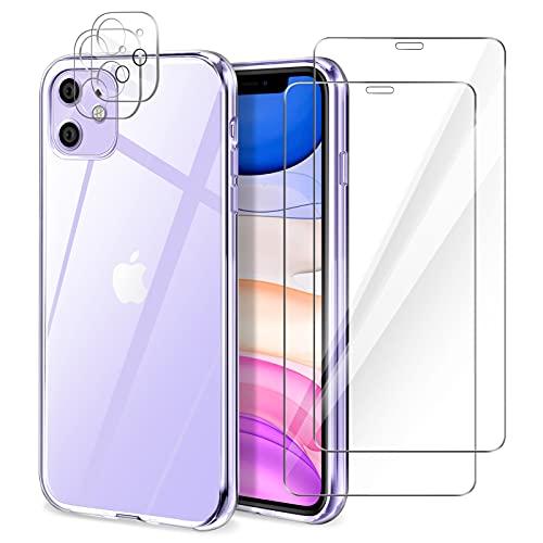 YIRSUR Cover Compatibile con iPhone 11 con 2 Pezzi Vetro Temperato Pellicola Protettiva e 2 Pezzi Protettore Lente Fotocamera, Trasparente Custodia Protettiva Antiurto Morbida e in Silicone