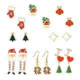 Amosfun 8 Pares de aretes de Navidad Pendientes hipoalergénicos Pendientes Joyas para niñas Mujeres Pendientes Colgantes