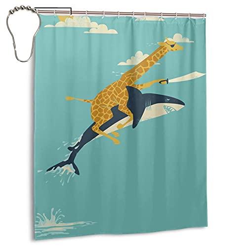 KasaBlaro Giraffe Riding a Shark Shower Curtain 60x72 in Polyester Fabric Waterproof Bath Curtain for Bathroom Decoration