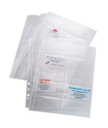 SIGEL VZ351 Hüllen für zweireihige Visitenkarten-Ringbücher VZ301, für 200 Karten, 10 Stück