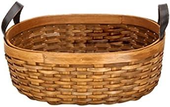 SKGOFGODcw Home Storage Bins Wooden Storage Baskets, Wood Chip Leather Handles, Rural Handmade Storage Baskets, Desktop Fr...