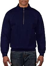 Gildan Men's Fleece Quarter-Zip Cadet Collar Sweatshirt, Navy, Large