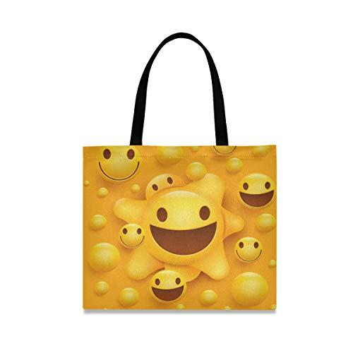 LZXO Bolsa de lona con diseño de emoticonos divertidos, con mango largo natural, reutilizable, bolsa de compras de lona grande con bolsillo interior para mujer y niña