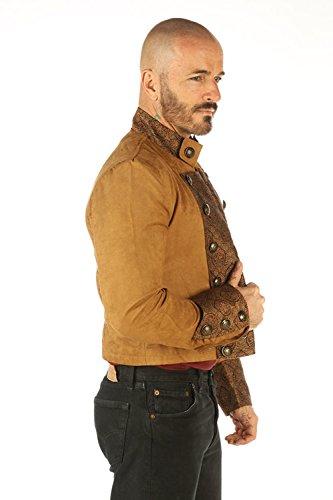 Leatherotics Chaqueta de hombre militar gótico de algodón marrón marrón marrón Steampunk SPSS