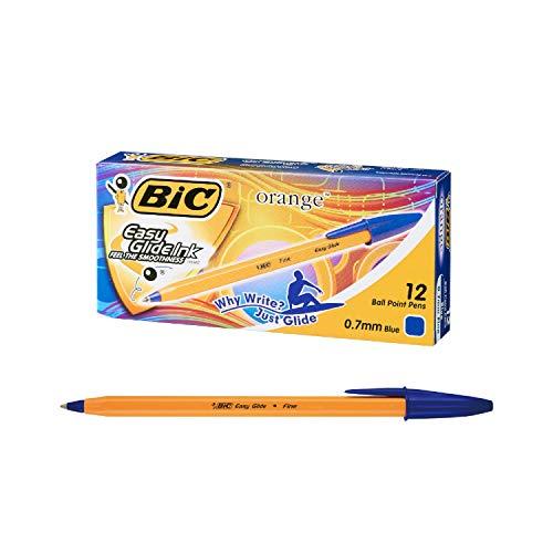 ビック 油性ボールペン オレンジ 0.7 青 12本入 ORGF12EGBLU