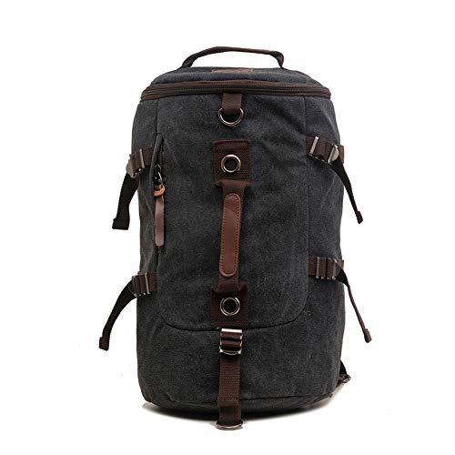 GUMU Vintage Lona Mochila De Bandolera La Bolsa Hombro Messenger Bag Laptop Backpack Mochilas Sport para Hombres Mujer,Black