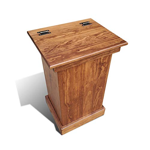 Wooden Lift Top Trash Can Cabinet, Handmade Solid Wood Hideaway Trash Holder (Cherry)