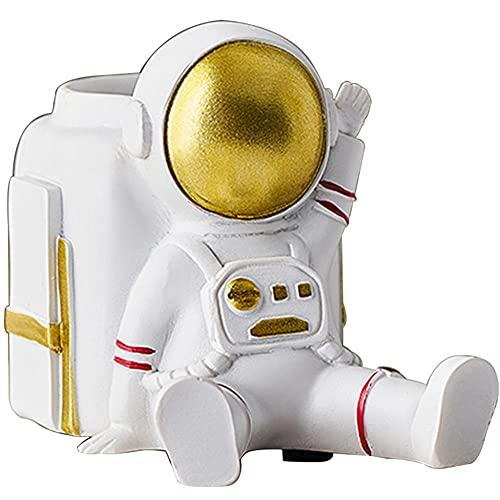 Holder creativo de la pluma de la personalidad del astronauta, el soporte de lápiz de la oficina de la oficina de lujo ligero, adornos decorativos creativos-blanco_7.6 * 12 * 9cm