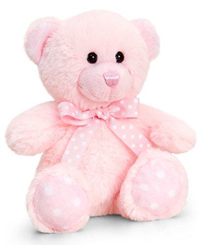 Lashuma Keel Baby Plüschtier Bär Rosa, Kuscheltier Teddy sitzend 15 cm