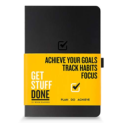"""Product Image 1: Get Stuff Done Planner for Productivity – 13 Week Undated Planner, 8.3"""" x 5.5"""" – Monthly, Weekly And Daily Agenda – Best For Full Focus And Achieving Goals – Personal Organizer for Men & Women"""