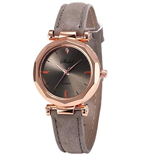 Luckhome Fashion Damen-Armbanduhr Analog Quarz Mit Leder Armband Mode Frauen Casual Uhr Analog Quartz Kristall Armbanduhr Quarzgürteluhr Für Damen(Grau)