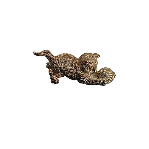 Oro amarillo 9ct–375/100015x 39mm gato, jugar, lana, broche