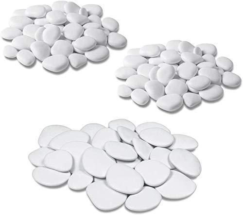 Sassi decorativi bianchi in plastica riciclata Teraplast - confezione da 3 pezzi