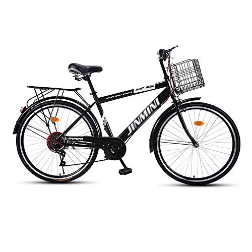 Bicicleta, Bicicleta de Viaje Diario de 6 Velocidades, Bicicleta de Ocio Retro de 26 Pulgadas para Adultos/Adolescentes, Asiento Ajustable, Marco de Acero con Alto Contenido de Carbono /