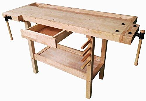 Banco da lavoro BRICO in legno 137x50x86H. Tavolo in LEGNO per lavori di Bricolage, Falegname e Fai...