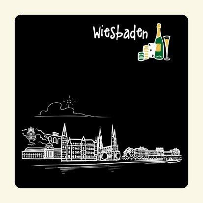 die stadtmeister Untersetzer Skyline Wiesbaden (schwarz) - als Geschenk für Wiesbadener & Fans Wiesbadens oder als Souvenir