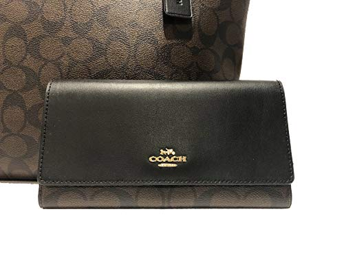 Fashion Shopping New Coach C Signature Purse Hand Bag & Wallet Matching 2 Piece Set Black Brown