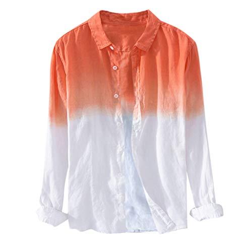 WINJIN Chemise à Manches Longues et Coupe Ajustée en Lin pour Chemise à Revers Mince Respirant Chemise en Coton à Dégradé Teint Casual Sweat-Shirts Top Blouse Survêtement Haut pour Automne Printemps