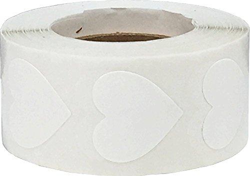 Weiße Herz Aufkleber, 19 mm 3/4 Zoll Valentinstag Etiketten 500 Packung