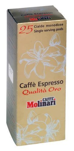 Caffè Molinari Espresso 'Qualità Oro', 25 ESE Pads / Espresso Pods / Cialde, 175 g