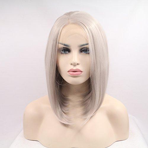 Xiweiya Perruque de cheveux courts courts gris avec bonnet en dentelle synthétique - Partie centrale - Fibre résistante à la chaleur - 35,6 cm