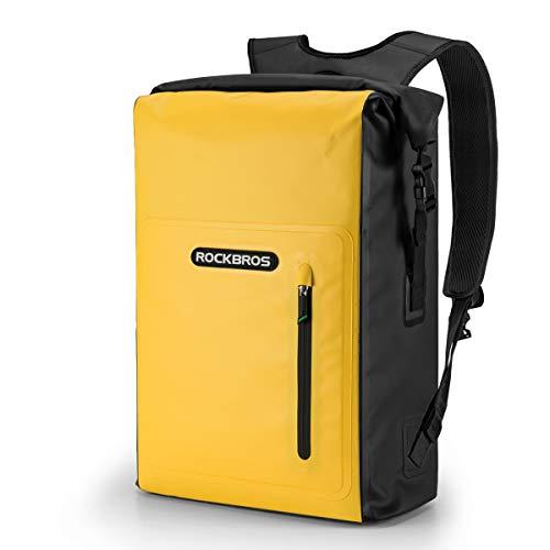 ROCKBROS Dry Bag Rucksack Wasserdicht Packsack 25L Reiserucksack mit Vordertasche für Bootfahren, Schwimmen, Strand, Kajak, Rafting, Angeln