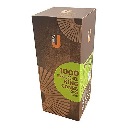 JWARE 1000 x ungebleichte Konisch Hülsen aus natürlichem Hanfpapier vorgedrehte Joint Hülsen 109mm vorgerollte Joint Cones