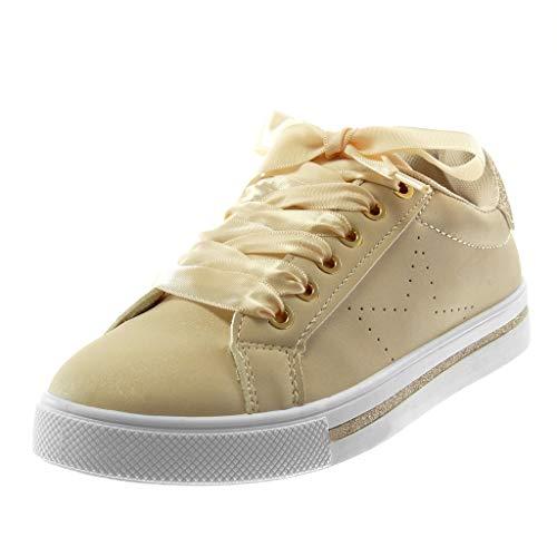 Angkorly - Damen Schuhe Sneakers - Turnschuhe - Tennis - Sporty chic - Schnürsenkel aus Satin - Glitz - Stern Flache 3 cm - Beige R240 T 39
