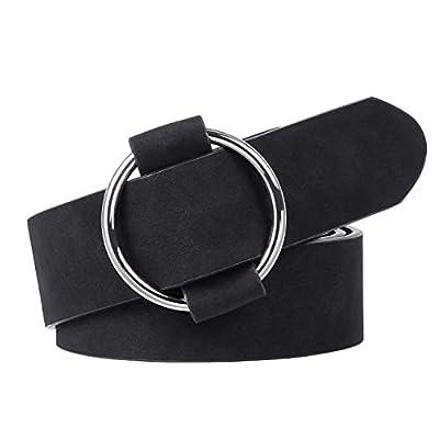 Fancy Women Circle Leather Belt without Pin, No Holes Black Waist Belt for Dress, Jeans, Blouse