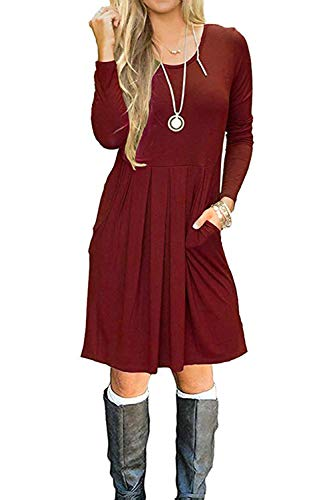 AUSELILY Women's Long Sleeve Pleated Loose...
