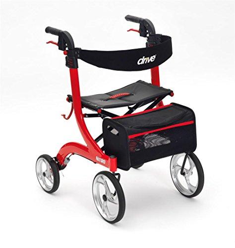 Drive Red Nitro 4 wielen Premium Rollator met rugleuning, zitting en tas
