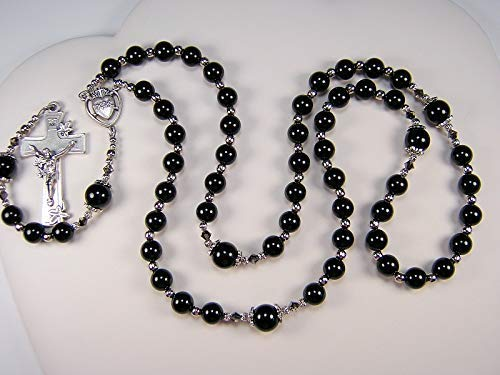 "Black Onyx Large Rosary 22"" Womens Catholic Necklace 8mm Black Onyx Gemstone Beads Handmade Las Mujeres Collar Catolica Rosario"