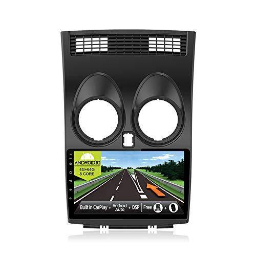 JOYX Android 10 Autoradio Compatibile con Nissan Qashqai J10 (2006-2015) - [4G+64G] - [Built-in DSP/Carplay/Android Auto] - LED Camera GRATUITI - BT5.0 DAB Volante 4G WiFi 360-Camera - 9 Pollici 2 Din