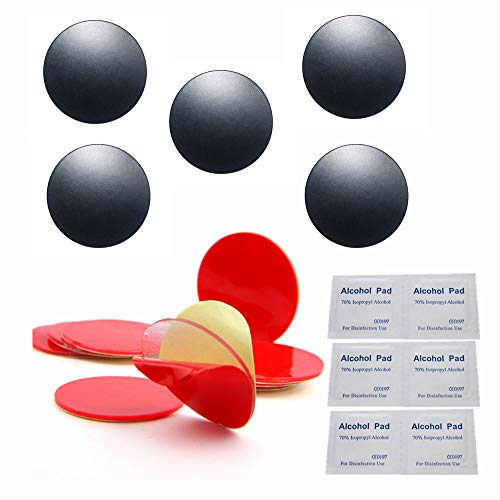 MeetRade 12PCS Super Strong Adhesive 1 Inch Dot For Car Phone Holder Magnet Stand Mount With 5PCS Metal Plate Disc And Cleaning Pads Compatible With Air Bag Collapsible Grip And Phone Socket (Black)