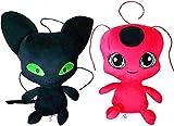 DINEGG 2PCS Milagrosos: Tales of Ladybug & Cat Noir Muñeca de Felpa? Juguete de Peluche? Tikki y pla...