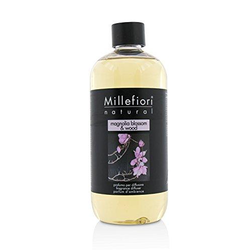 Millefiori 7REMW Magnolia Blossom und Wood Nachfüllflasche 500 ml für Raumduft Diffuser Natural, Plastik, Rosa, 8.1 x 6.5 x 17.7 cm