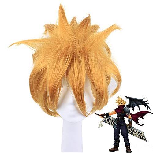 Cosplay Kingdom Hearts Golden Wig 11.81in, Fientos Anime Dress Up Pelo Sintético Fancy Game Masquerade Crazy Party Short? Pelucas con Peluca Gratis