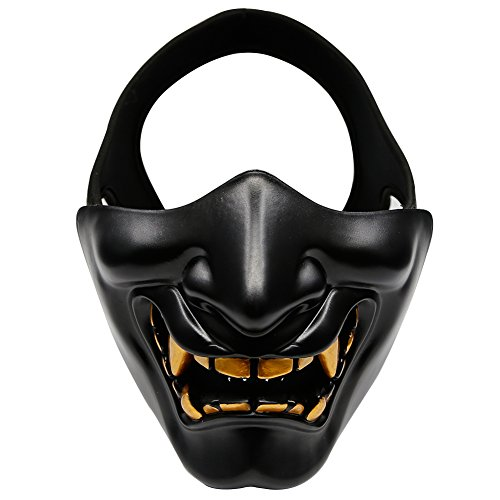 Aoutacc Airsoft Half Face Masks, Evil Demon Monster Kabuki Samurai Hannya Oni Half Face Protective Masks for Masquerade Ball, Party, Halloween, Cs War Game, BB Gun(Black)