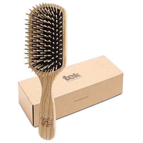 Tek cepillo para el pelo rectangular grande de madera de fresno con púa corta - Hecho a mano en Italia
