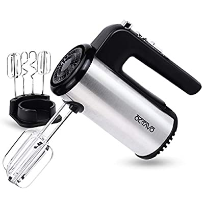 OCTAVO Electric Hand Mixer,5-Speed 300W Powerful Turbo function Handheld Mixer with Eject Function,Storage Case and 4 Metal Accessories for Whipping Mixing Cookies, Brownies, Dough Batters (sliver)