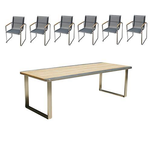 Edles und hochwertiges Gartenmöbel Set: 1 Gartentisch 240 cm und 6 Gartenstühle aus Edelstahl und Teak von Linneborn Metallwaren