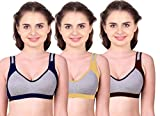 Caracal Sports Bra for Women's for Daily Workout Gym Wear Seamless Combo Pack of 3 (Size 42) Free Size