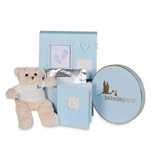 BebeDeParis | Regalos Originales para Bebés Recién Nacidos | Canastilla Bebé Happy Recuerdos | Set de Huellas Corazón Osito| 3-6 Meses (Azul)