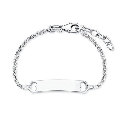 Prinzessin Lillifee ID-armband voor meisjes, 12 + 2 cm, geboorte doop, graveerbaar, 925 sterling zilver, hart