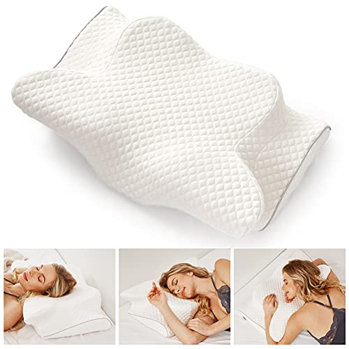Cervical Pillow for Neck and Shoulder Pain Relief, Orthopedic Chiropractic Pillow Contoured Ergonomic Neck Support, Peacefully Sleep Memory Foam Pillow Bed Pillow for Angel Back Side Sleepers