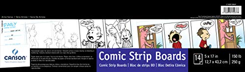 Canson Comic Strip Boards Pad with Preprinted, Non-Reproducible, Blue Lines, 150 Pound, 5 x 17 Inch, 14 Sheets