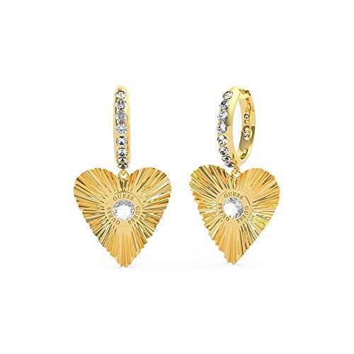 Guess Jewellery Plisse UBE70260 - Pendientes de oro con forma de corazón (20 mm)