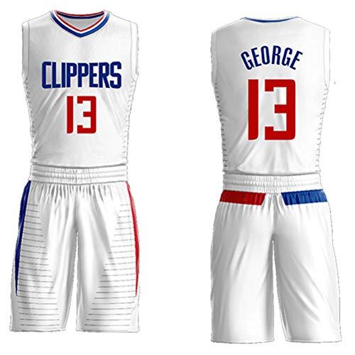 Paul George # 13 Jersey Shorts für Kinder Jugend Männer, Los Angeles Clippers Nr. 13 Jersey, ärmelloses Set, bestickte Buchstaben Basketball Swingman Jersey-White-M