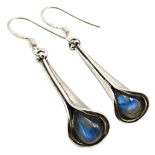 Unique Exklusive Damen Ohrhänger Pendel echter Mondstein eingefasst in 925 Sterling Silber nickelfrei 3 Karat in Juweliers- Qualität